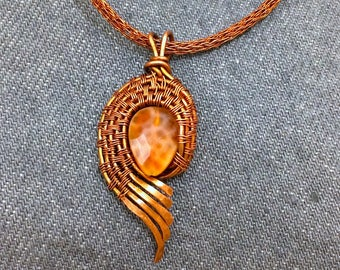 fired agate /copper wire woven pendant/ viking knit chain