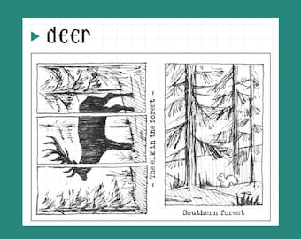 clear Stamp Set / Clear Stamps / Planner Stamp /deer in forest/ nature/greenery/ tree