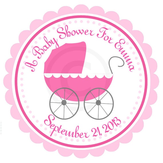 Baby pram personalized stickers baby shower stroller hang tags gift tags party favor its a girl set of 12 from maxandbella on etsy studio