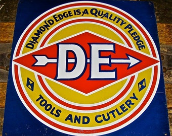 Old DIAMOND-EDGE Knife / Tools & Cutlery Tin Sign / Hardware, Knives, Vintage