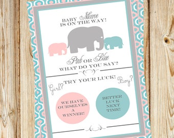 Elephant Gender Reveal Scratch-off PDF file