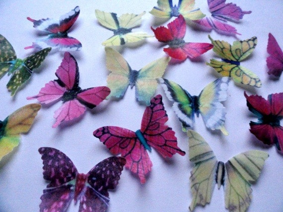 24 PINK & YELLOW Small Assorted Edible Wafer Paper Butterflies