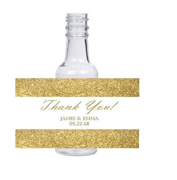 10 3x2 inch gold glitter background Customized Personalized Mini Liquor bottle Labels
