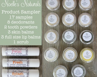 All Natural Product Sampler - 17 items - Organic - Deodorant - Variety Pack - Tallow Balm - Lip Balm - Scrub