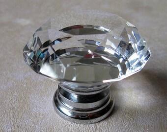Glass Knobs / Crystal Knobs / Dresser Knob / Drawer Pulls Handles Clear Silver / Kitchen Cabinet Knobs Pull Handle Hardware Transparent