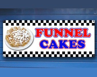 "FUNNEL CAKES BANNER -  Shop Banner fair concession funnelcake cake food Sign 24"" x 60"""