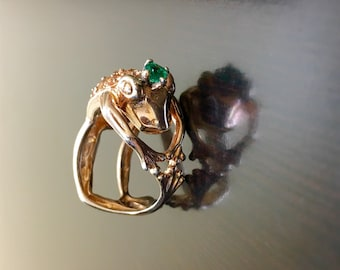 Untreated African Emerald Ring Gold Emerald Band Gold V Band V