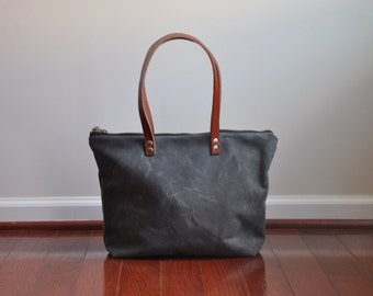LARGE Grey Waxed Canvas Zip Tote Bag with Brown Leather Handles, Travel Bag, Purse, Waxed Canvas Bag, Zippered Waxed Canvas Bag