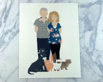 Personalised pet portrait, custom pet portrait, gift for cat lover, gift for cat owner, cat portrait custom, Personalised cat, PRINT ONLY
