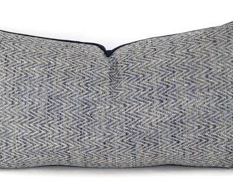 Navy, Cream, Light Blue & Gray Woven Chevron Lumbar Throw Pillow Cover, 10x18, 10x16