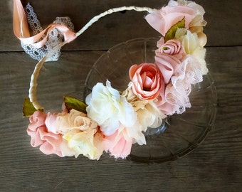 flowers crown, fabric flowers head tiara, bridal crown, birthday crown, flowers wreath