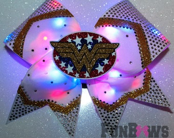AMAZING color changing ORIGINAL LED Glo bow by FunBows - Wonder Woman - Super Hero