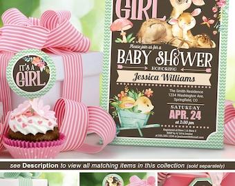 Girl Woodland Baby Shower Invitation Girl, Deer Invite printable INSTANT DOWNLOAD Digital File - 09b