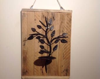 Upcycled wall piller candle sconce - leaf