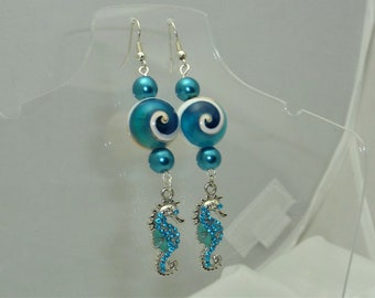 Blue Seahorse and Shell Earrings