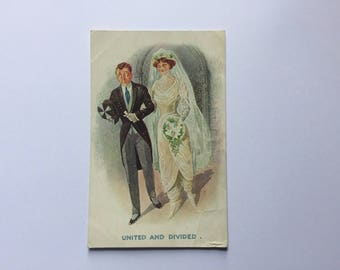 Rare Original Edwardian 1910s Suffragette Wedding Harem Pants Printed Postcard Signed Fred Spurgin - unused - great wedding gift
