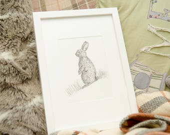 Rabbit doodle black and white wildlife art print
