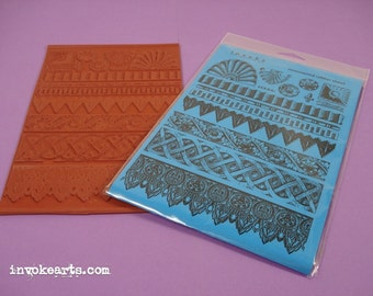 Traditional Borders / Invoke Arts Collage Rubber Stamps / Unmounted Stamp Set