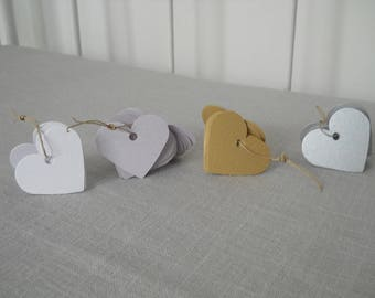 4x5cm heart tags, cardstock and punched