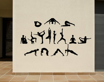 Yoga Poses Decals Set of 15