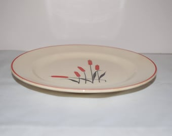 CATTAIL 6 inch BREAD Plate Dish 1940's USA Universal Cambridge Red Cattail, Universal Pottery Cambridge, Ohio  Pottery