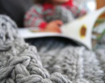 Chunky Crochet Throw Blanket, Merino Wool alpaca blanket,soft grey double thickness blanket, lap rug, cosy throw blanket / #makeforgood
