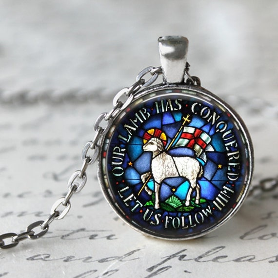 Catholic Jewelry - Lamb of God Pendant , Our Lamb has conquered, Let Us Follow Him