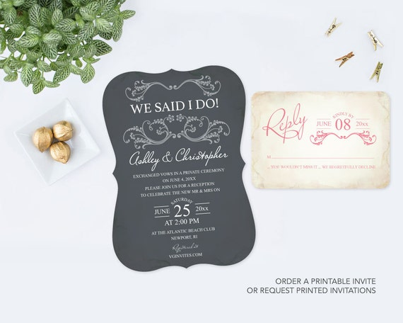 Elopement Wedding Invitations: Elopement Wedding Invitation Set Reception Grey Pink RSVP