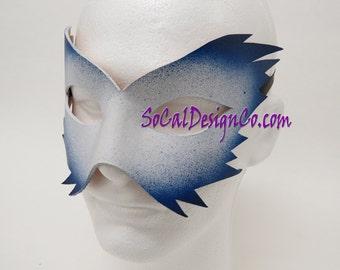 Mens Masquerade Mask - White - Leather Mask - Halloween Mask - Masquerade Mask - Leather Masks – Venetian Mask – Blue Leather Mask