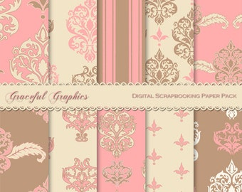 Scrapbook Paper Pack Digital Scrapbooking Background Papers Neoclassical 10 Sheets 8.5 x 11 Pink Brown White Feather Leaf 1230gg