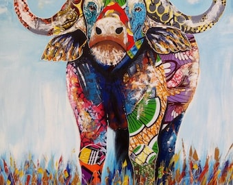 Fashion Buffalo,African painting,African art,Acrylics on canvas painting,Hand painting,Mixed media painting.