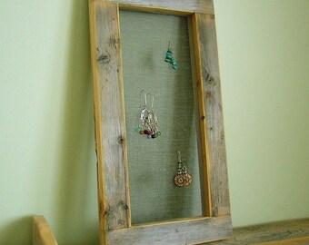 Barnwood EARRING FRAME (5x12) handmade from reclaimed weathered wood - rustic refined jewellery display