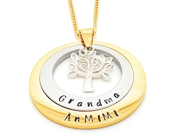 Personalised tree etsy layered family names tree of life pendant personalised jewellery hand stamped name necklaces gold family name aloadofball Image collections