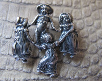 Kate Greenaway Design of CHILDREN at Play: Sterling Silver Pendant of Ring Around the Rosie. Country, Settlers, Old Fashion Children Kids