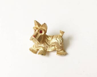 Dog Pin Scottie Dog Pin Vintage Brooch Signed JJ Gold Dog Pin