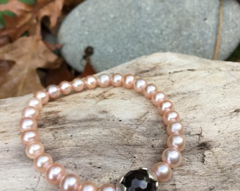 Garnet and pink freshwater pearl mala bracelet by Bicycling Buddha YC22