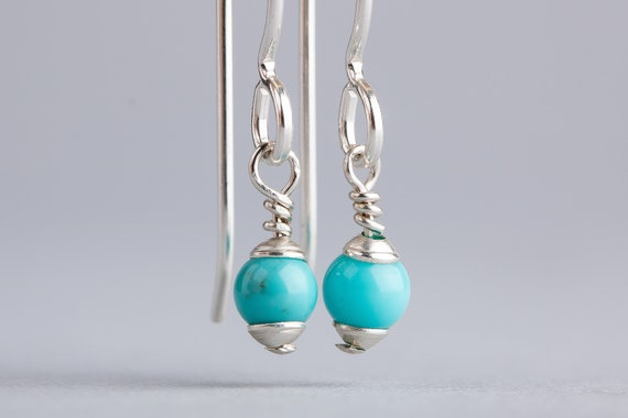 Tiny Mexican Turquoise Drop Earrings - Simple Aqua Blue Bohemian Earrings - Tiny Sterling Silver Boho Dangle Earrings - Indian Navajo