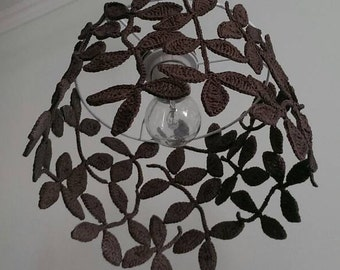 Happiness and harmony knitted lamp shade, knitted lighting, pendant lamp shade, romantic lampshade, vintage lampshade, designer, gift, brown