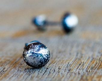 Sterling Silver Stud Earrings. Tiny Earrings. Twice Recycled Silver. Rustic Jewelry. Post Earrings. Everyday Wear. Minimalist. Small Studs.