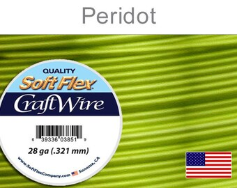 26 Gauge Periodot Green Silver Plated Wire, Soft Flex, Round, Non-Tarnish, Supplies, Findings, Craft Wire