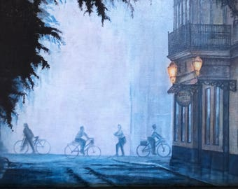 Biking on Main Street  Acrylic on canvas