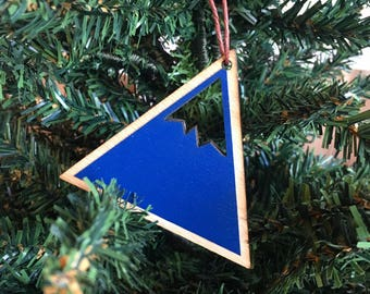 Mountain Ornament | Wood Ornament | Holiday Decoration | Mountain | Holiday Ornament | Christmas Ornament | Home Decor | Made in Maine