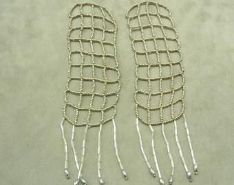 PRETTY beaded epaulette - silver