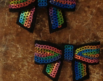 "2 Each 2"" Black with Rainbow Sequin Bow Embellishment"