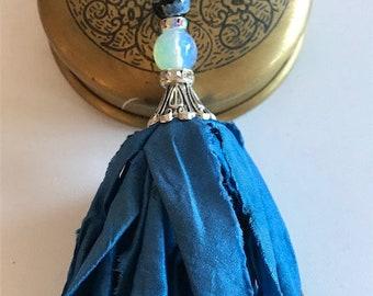Silk Sari Tassel Necklace-Blue Tassel-Boho Tassel Jewelry
