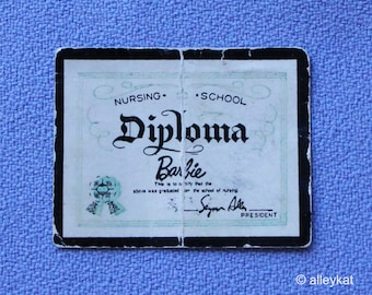 Vintage Barbie Registered Nurse Diploma, Fashion #991, EXC