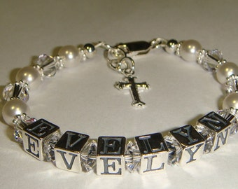 Girls First Communion Bracelet - Swarovski Pearls & Crystals - Sterling Silver - Personalized - Steling Silver Cross