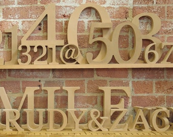"""20cm/8"""" Free standing wooden letters and numbers for DIY craft projects"""