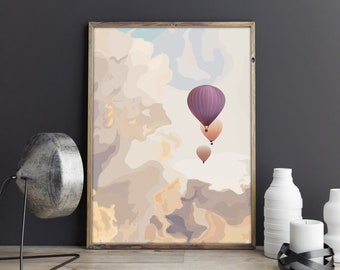 Hot air balloons in cloudy sky illustration print - Digital Download - Cute print - Home decor - Wall art