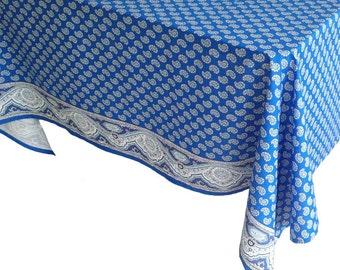 Blue Paisley Tablecloth, Provence Tablecloth, French Tablecloth, Square Tablecloth